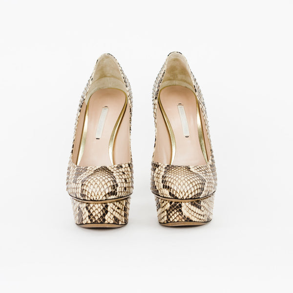 Nicholas Kirkwood beige and brown snakeskin platform pumps with rounded toes, covered heels and platforms, and metallic gold accents on backside of platforms.