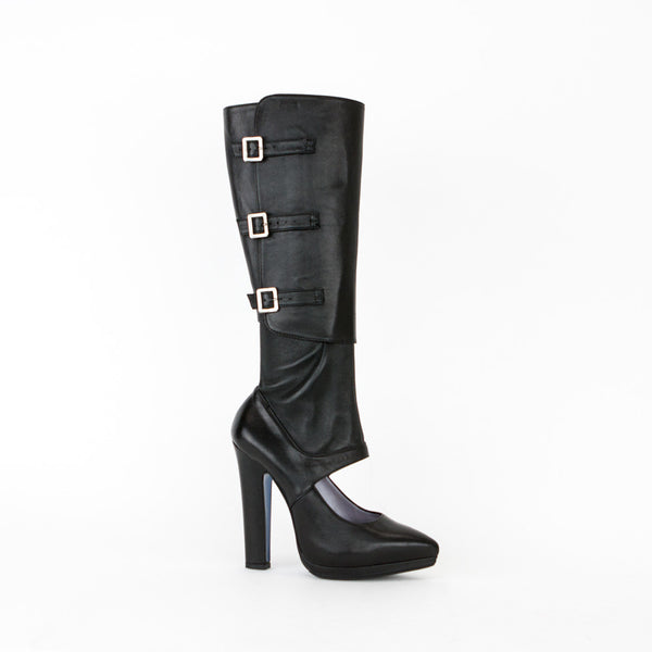 Versace Black Nappa Stretch Leather Knee High Boots
