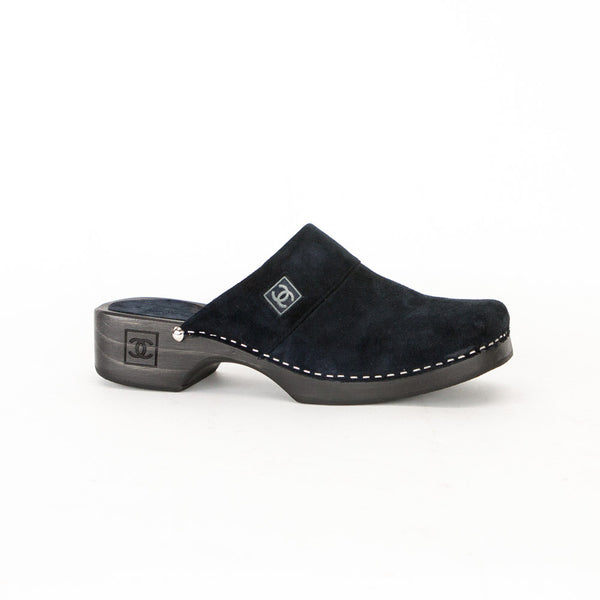 Chanel Navy Blue Suede Clogs