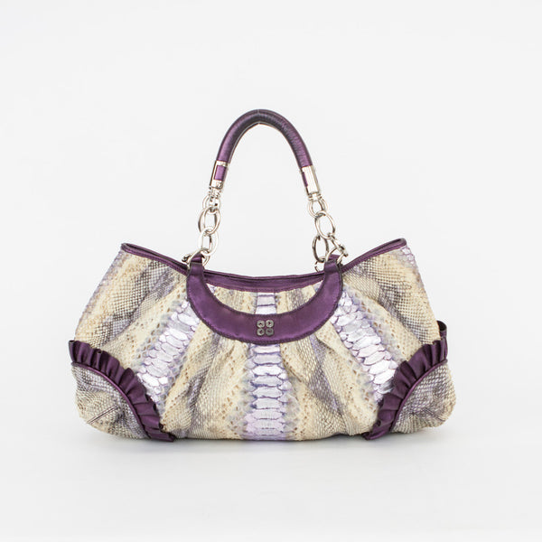 Cocomojo Handbag with Ruffled Edges with Chain link handles