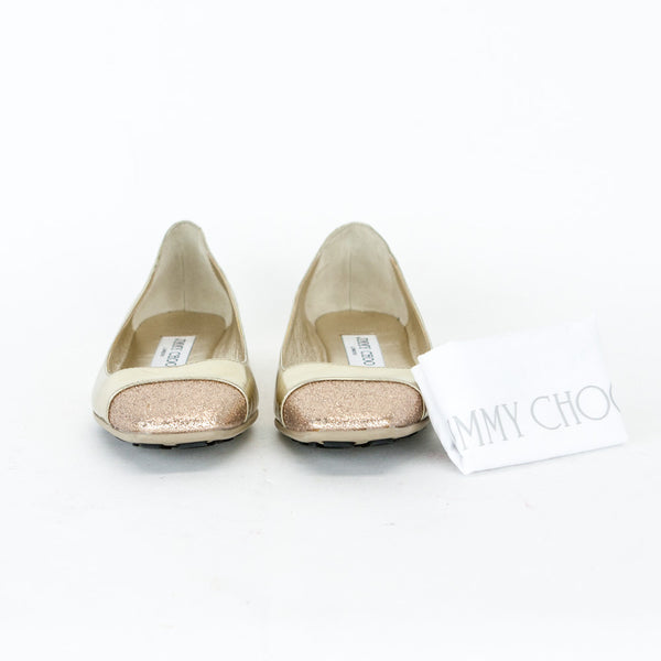 Jimmy Choo Gold Gavot Flats with dust bag