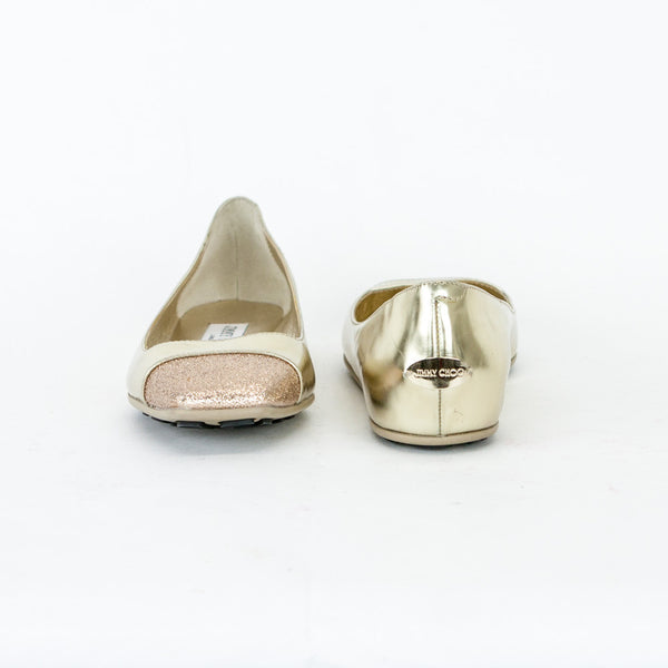 Jimmy Choo Gold Metallic Gavot Flats