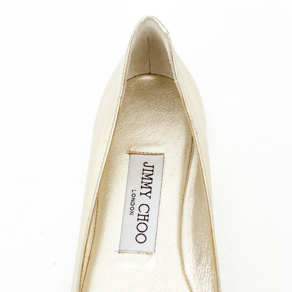 Jimmy Choo Gold Gavot Flats designer label on insoles