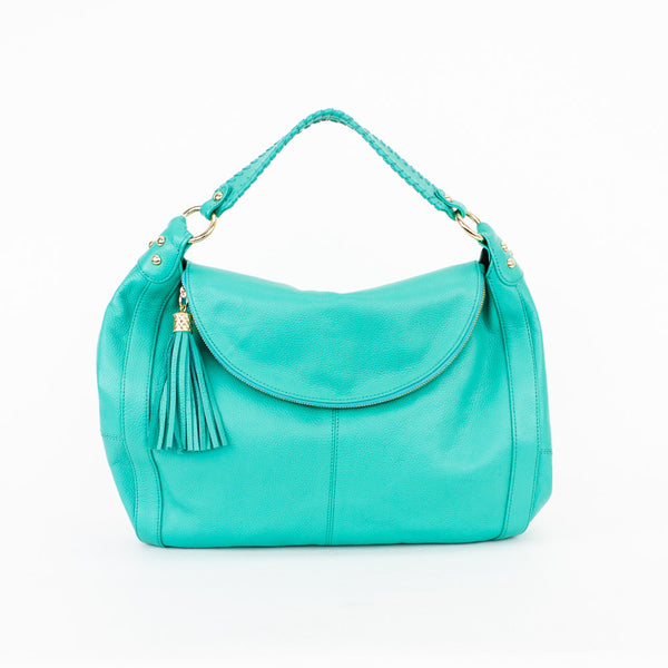 Onna Ehrlich Turquoise Leather Shoulder Handbag