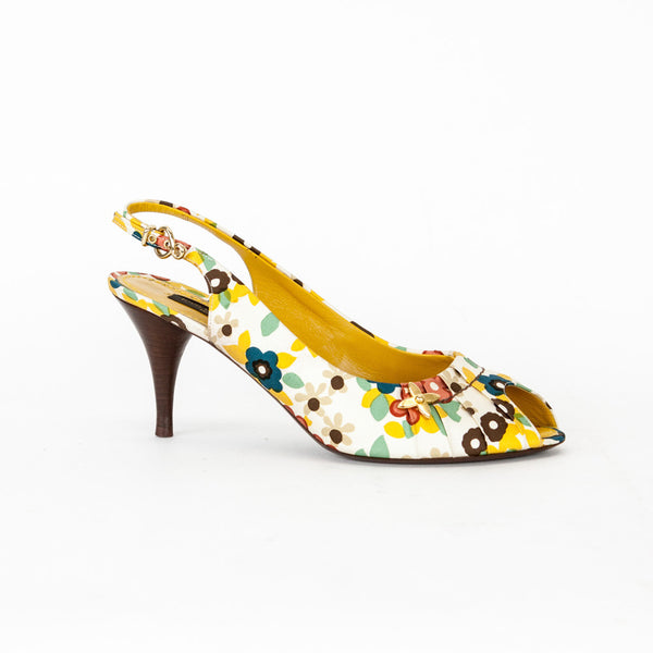 Creme and multicolor canvas Louis Vuitton peep-toe slingback pumps with gold-tone hardware