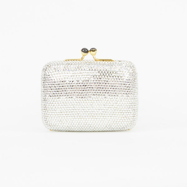 Judith Leiber mini crystal cocktail clutch with kissing lock closure