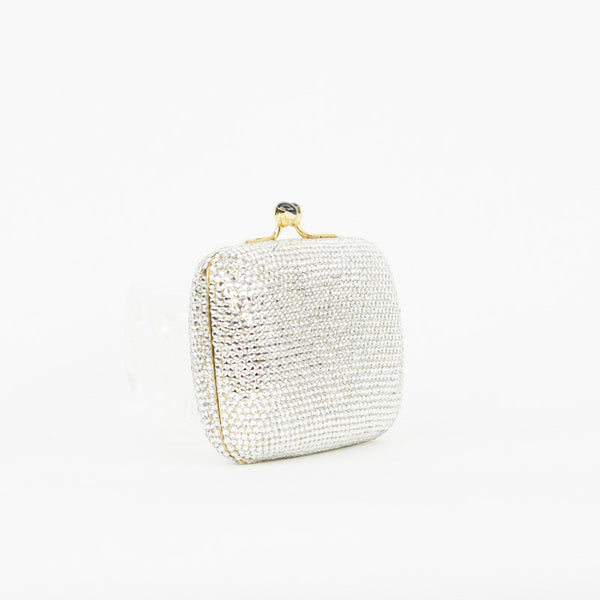 Mini Judith Leiber clutch with crystals, gold tone hardware, and kissing lock closure