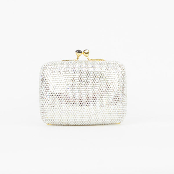 Judith Leiber crystal clutch with kissing lock