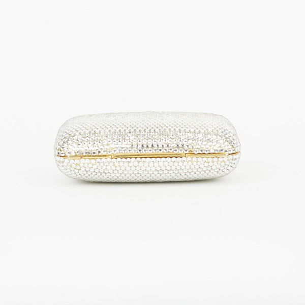 Mini crystal clutch with gold tone trim and hardware