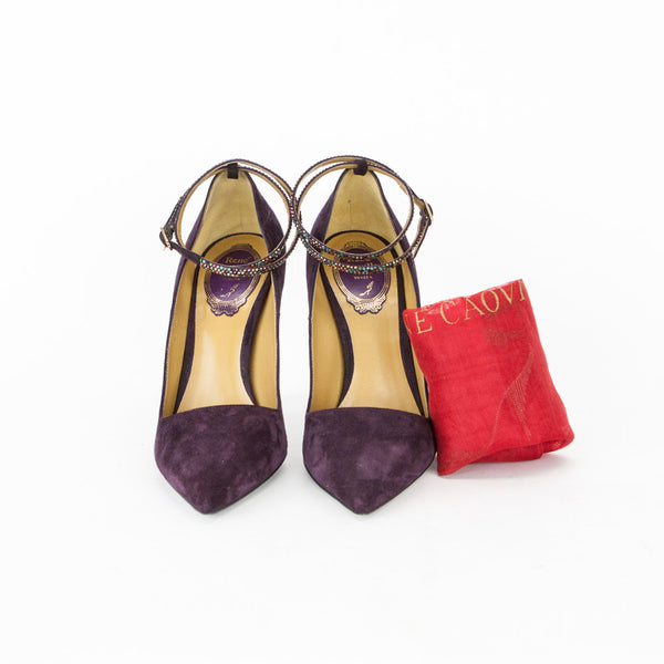 Rene Caovilla Purple Suede Pump with Crystal Ankle-Strap
