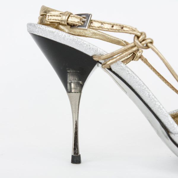 Silver & gold metallic leather heels with adjustable gold ankle strap, medium heels and leather soles.