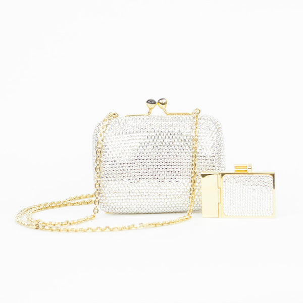 Mini crystal clutch comes with mini crystal notepad