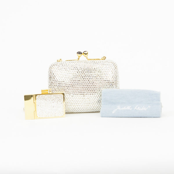 Judith Leiber crystal clutch with mini crystal notepad and dust bag included