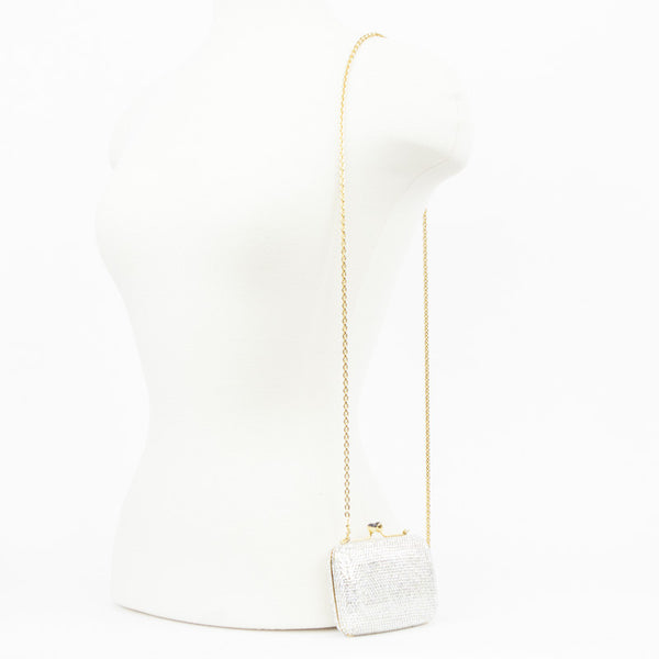 Judith Leiber crystal mini clutch with optional gold tone chain shoulder strap and kissing lock closure