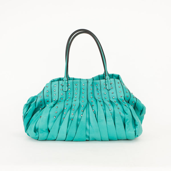 Valentino turquoise pleated leather tote with rhinestones