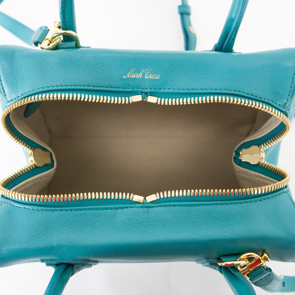 Mark Cross Teal Madison Mini Doctor Bag golden hardware