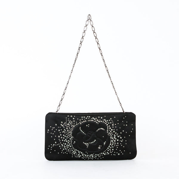 Chanel Black Satin Evening Clutch with Signature Camellia with Smoky Swarovski Crystals