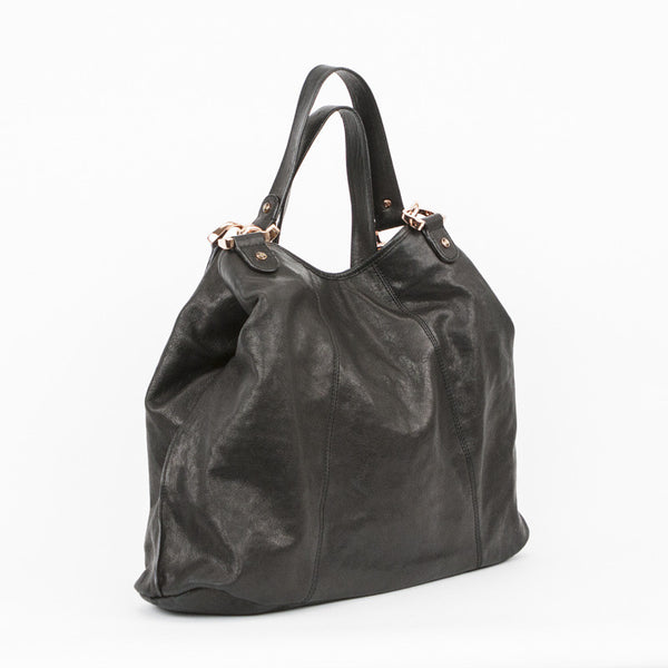 Ted Baker black leather tote with dual shoulder straps and bronze hardware