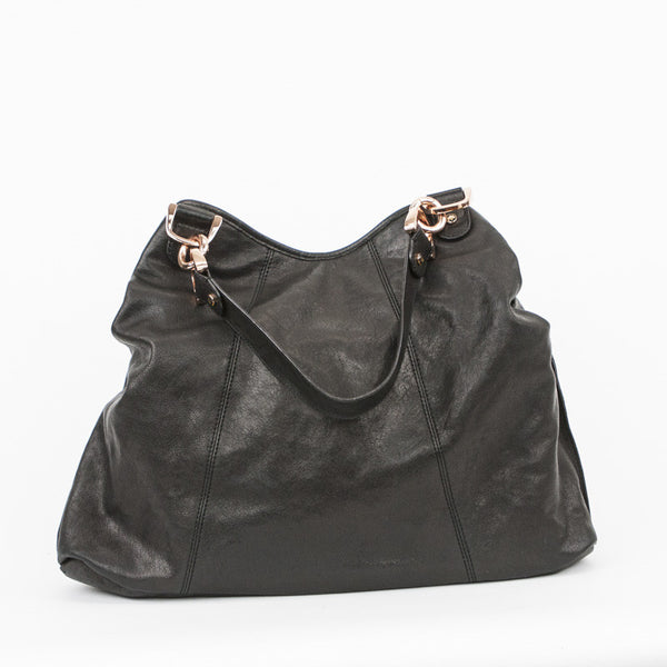 Leather tote with dual handles and bronze hardware