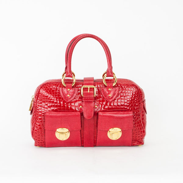 Marc Jacobs Red Crocodile & Lizard Baguette Handbag
