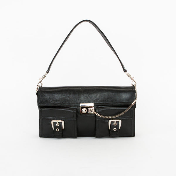Celine black leather baguette handbag