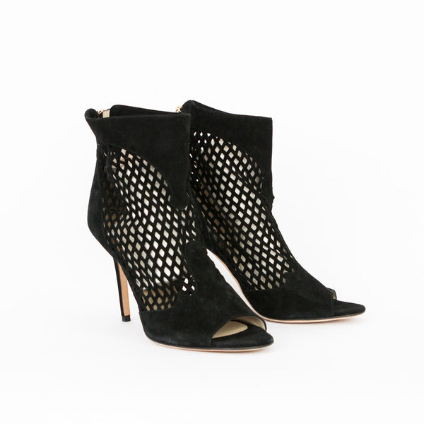Jimmy Choo black Detroit cut out suede booties size 12