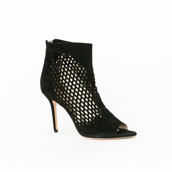 Jimmy Choo black Detroit cut out suede booties