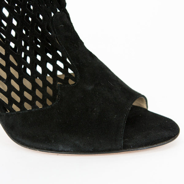 Jimmy Choo black Detroit cut out suede booties with an open toe