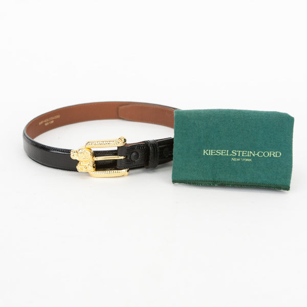 Kieselstein Cord black lizard belt with gold dog buckle with dust bag