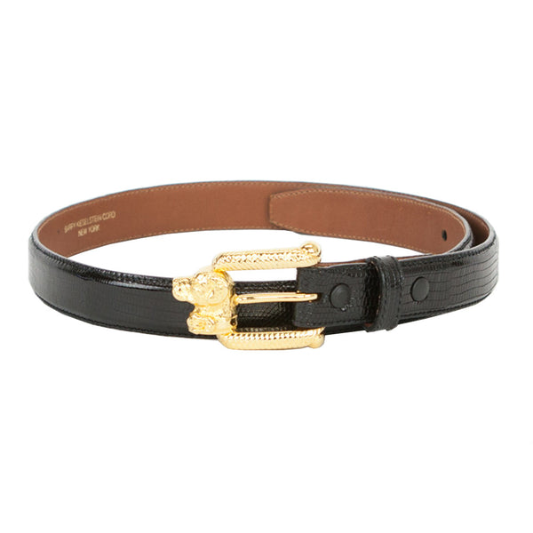 Kieselstein Cord | Black Lizard Belt With Gold Dog Buckle