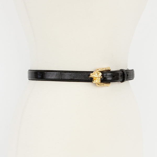 Kieselstein Cord black lizard belt with gold dog buckle