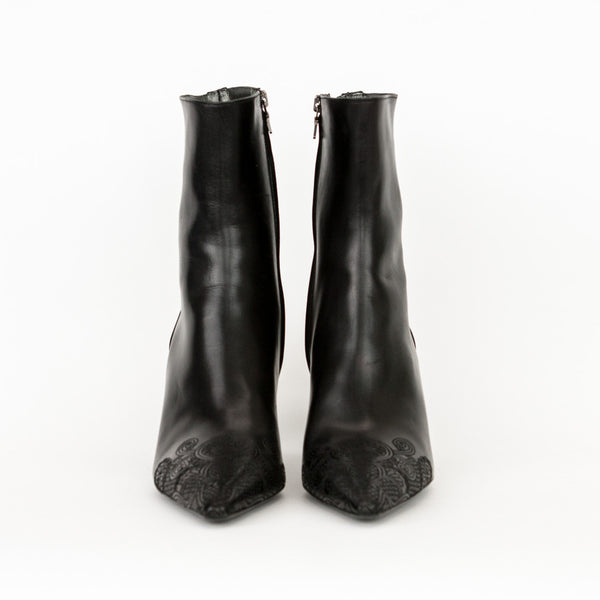 Prada black leather mid heel booties made in Italy