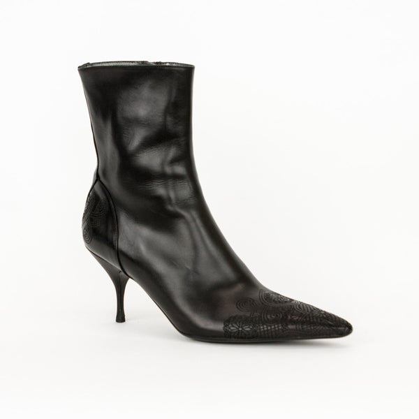 Prada black leather mid heel booties