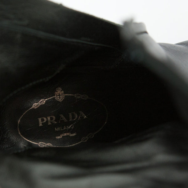 Prada black leather mid heel booties with branded insoles