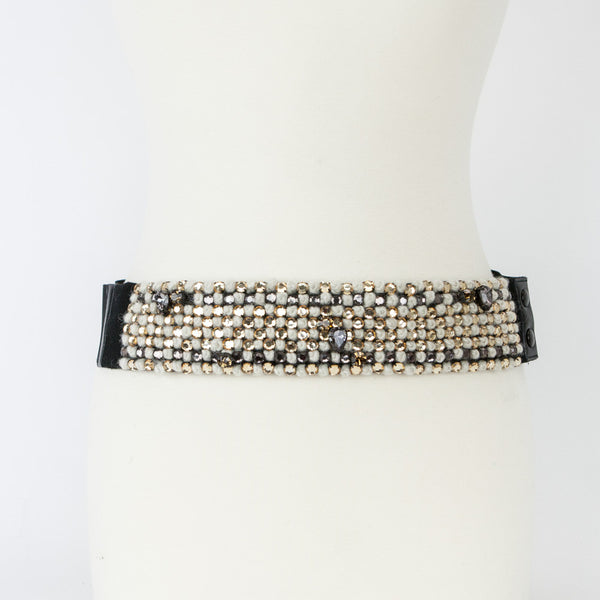 Lanvin Cloth Belt with Black, Beige & Gold Beads