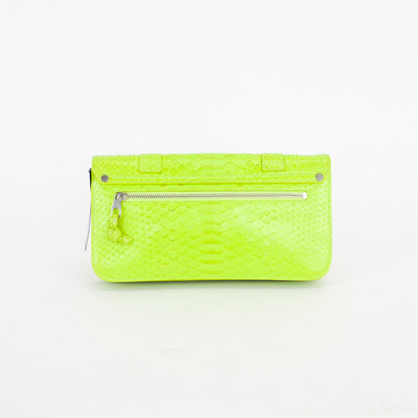 Proenza Schouler PS1 python clutch in neon citron with double strap front flap-over.