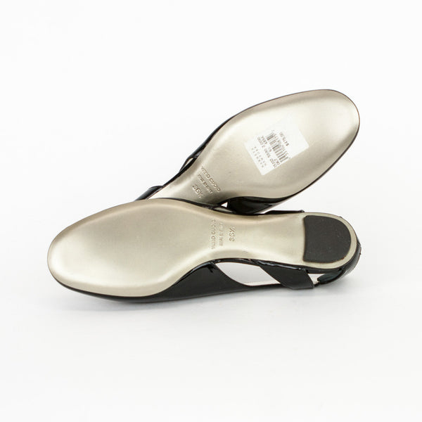 Dolce & Gabbana black patent leather flats with silver leather soles