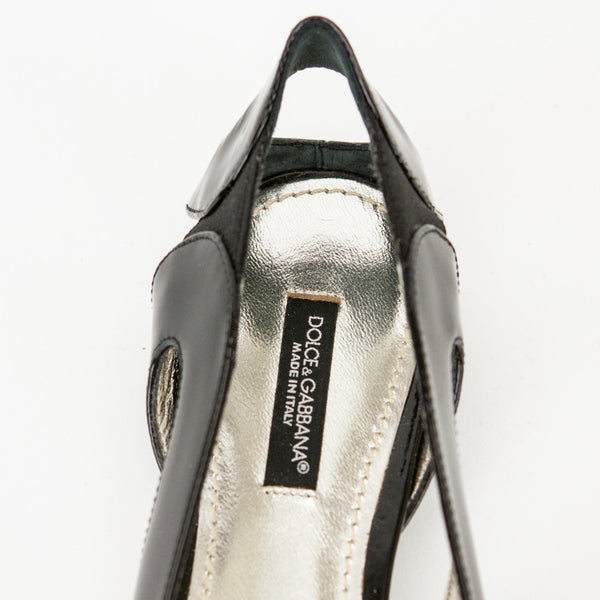 Dolce & Gabbana black patent leather flats branded insoles