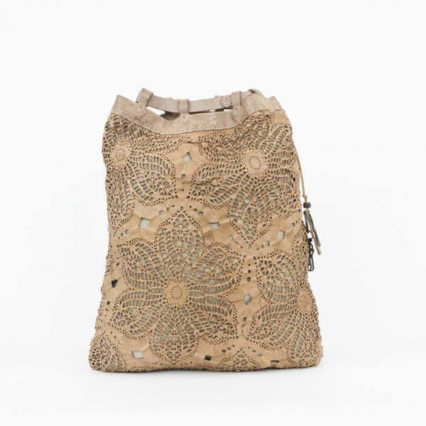 Henry Beguelin beige floral cut out backpack