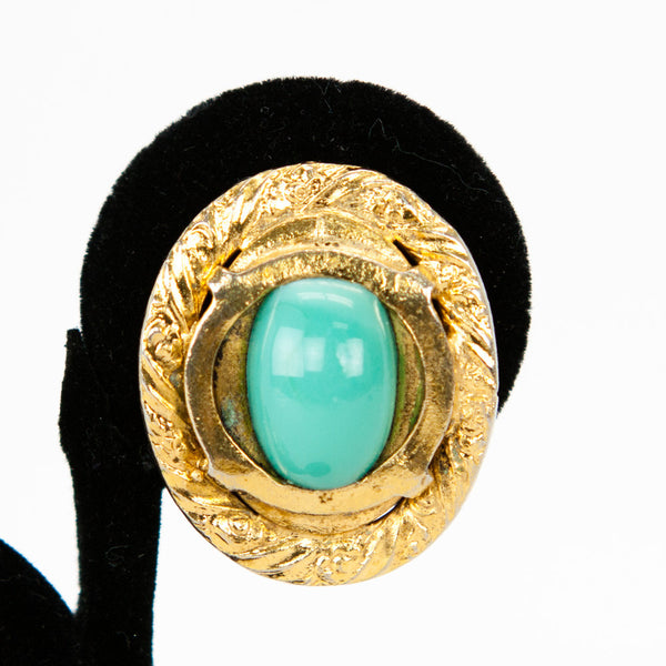 Vintage Chanel Pre-1971 Gold Tone Oval Setting Maison Gripoix Glass Turquoise Tone Cabochon Clip-on Earrings