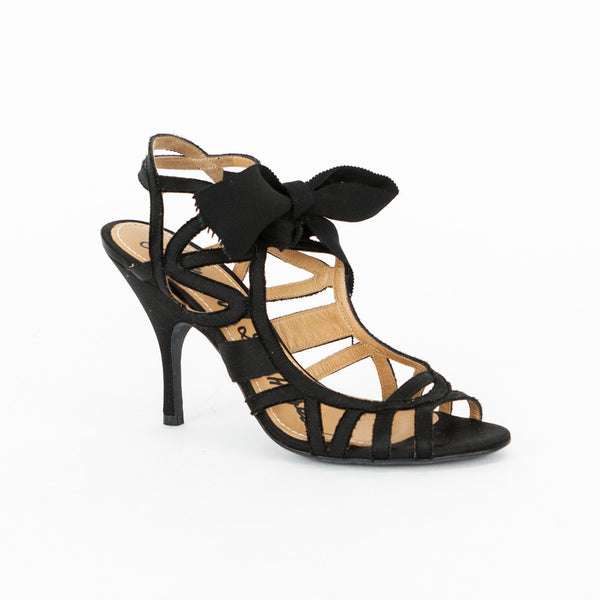 Lanvin black satin caged high heels