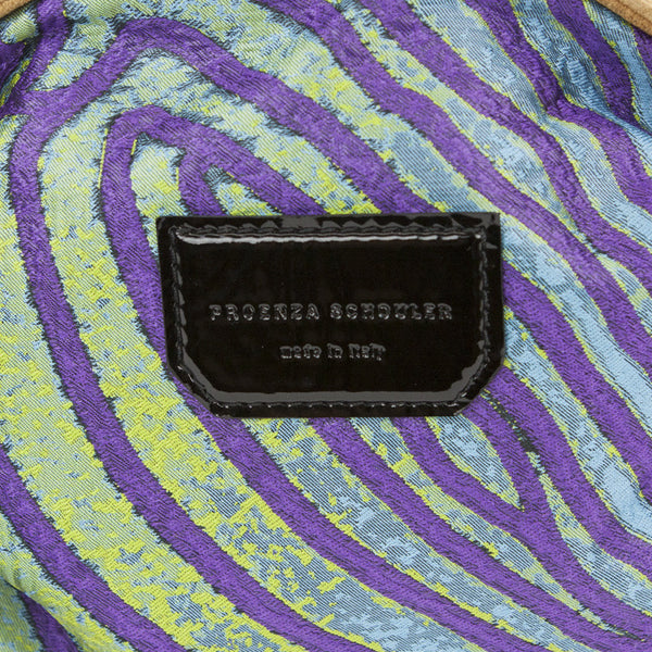 Proenza Schouler fish print jacquard pochette with patent leather patch