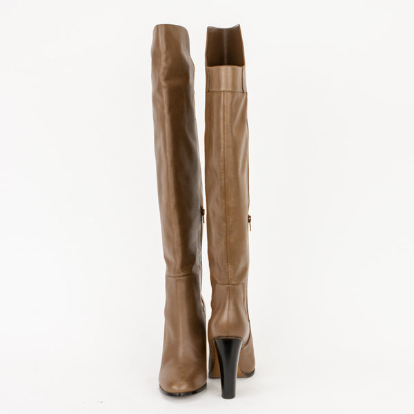 Vince brown leather dempsey over the knee boots with chunky wooden heels, almond toes, and inner half zip closures.