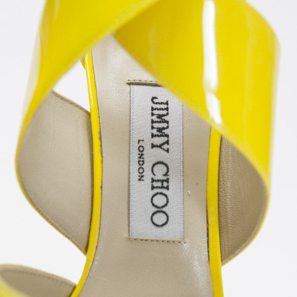 Jimmy Choo Fiery Yellow Patent And Suede Heel  Gold Hardware