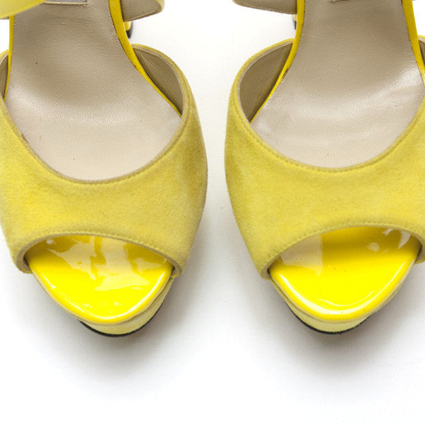 Jimmy Choo | Fiery Yellow Patent And Suede Heel
