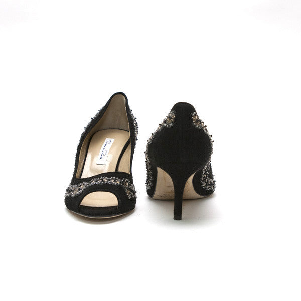 Oscar De La Renta Black With Sequins and Beads Mid Heels