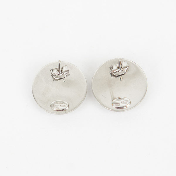 Roberto Coin 18K white gold etched dome button like disc stud earrings with a satin like finish and post for pierced ears.