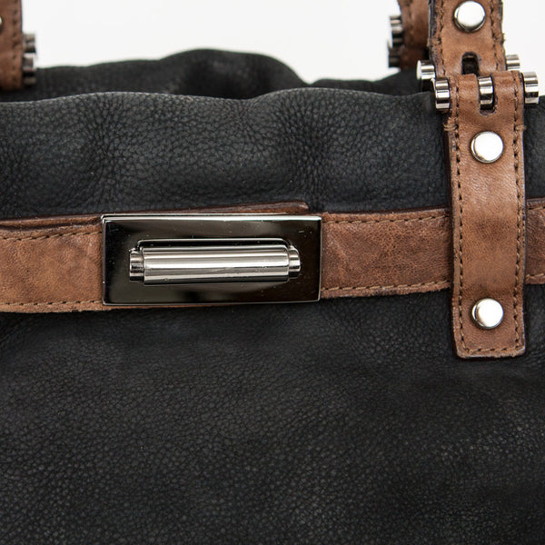 Lanvin black and brown leather handbag center push buckle