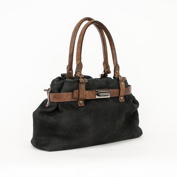 Lanvin black and brown leather handbag with two handles