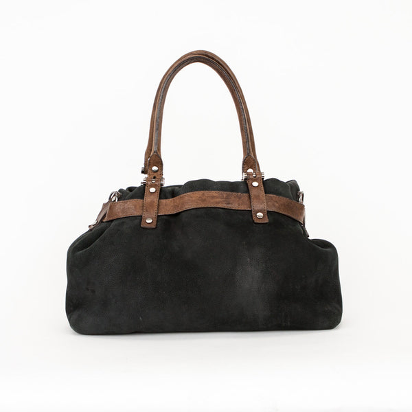 Lanvin black and brown leather handbag with gunmetal hardware
